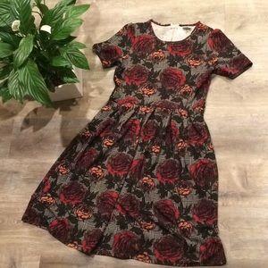 LuLaRoe Amelia Dress Rose and Plaid Patterns XL